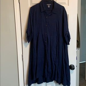 Collared Navy Dress with Pockets